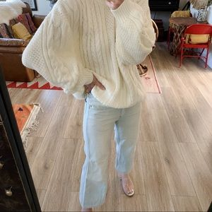 Vintage balloon sleeve oversized slouchy sweater